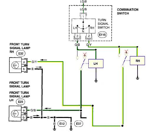 Stock lighting question nissan forums nissan forum with this circuit in place you show now be able to tap into the turn signal wiring and add additional connections wherever you want blinkers, Cat Th63 Wiring Schematic 1997